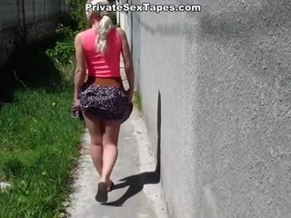 Czech blonde fucked in the street