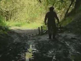chica, bosque, rape