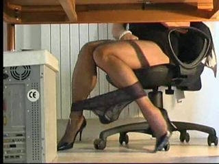 Shemale playing under desk