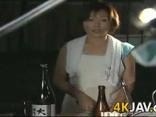 brünett, jaapani, blowjob, küps