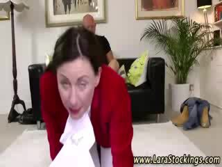 Naughty mature european stockings slut