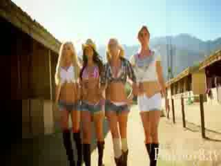 Group of luscious hot babes tryout skateboarding in topless