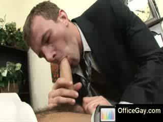 Gay blowjob at the office