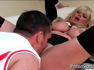 Busty Karen Kay Receives Fur Pie Eaten 3
