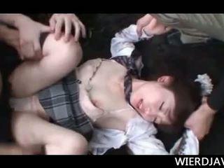 Малко азиатки училище момиче kidnapped и уста прецака хардкор