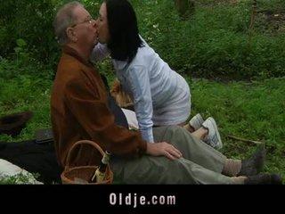 Grandpa Serving Young Sex At Picnic
