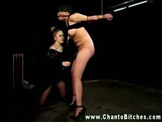 Femdom lesbo nipple clamping subject then masturbates her