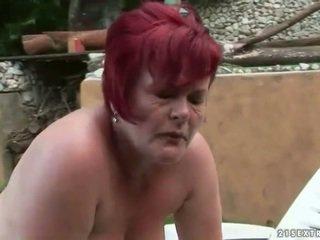 Fat grandma gets fucked hard outdoor