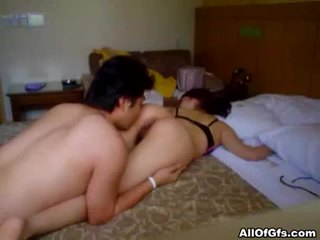 Asian amateur chick gets hairy pussy fucked
