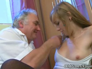 Old Bloke Likes To Bend That Immature Babe Over And Have Her Thongs Off When Her Boyfriend Isn't Around