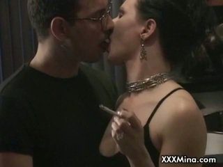 Brunette milf mina smokes while fucked