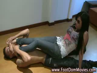 Footdom worship action for fetish slave