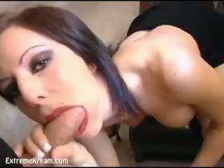 heet brunette video-, pijpbeurt seks, controleren cumshot