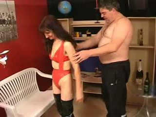 Mature hairy ugly Sue in latex and Johny 2nd
