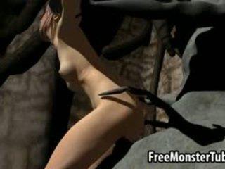 3d sarjakuva ruskeaverikkö gets perseestä kova mukaan a monsterin