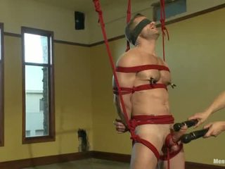 Super Hunk Landon Conrad Tied Up And Edged For The Very First Time