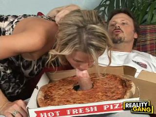 Pizza Lover Kayla Synz Takes A Particular Sausage Teasing Her Mouth For A Hot Munch