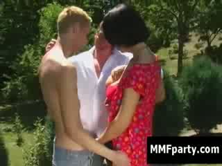 Bi sex bi 3some MMF bj Nature brunette Nature