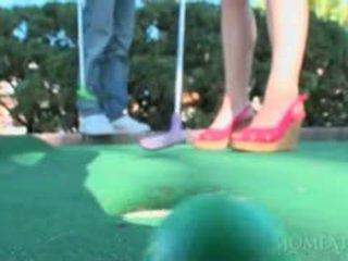 Blonde Hottie In Mini Skirt Seducing Black Hot Stud At Golf