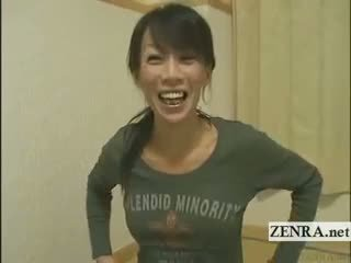 Subtitled Mature Female Japanese Bodybuilder Stripping
