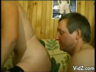 Blonde vixen fucks old horny man