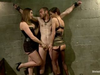Oustanding Meat Stick Dude Dominated In Dame Domination And Pegging Performance By 3 Nymphs