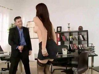 Naughty secretary fucking two cocks
