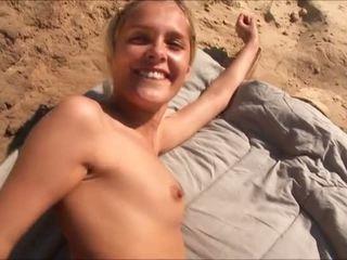 hardcore sex, seks in de buitenlucht klem, vol strand seks