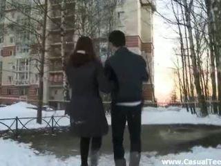 Teens play snowballs and fuck Video
