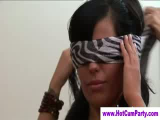 Blindfolded cfnm dong whores