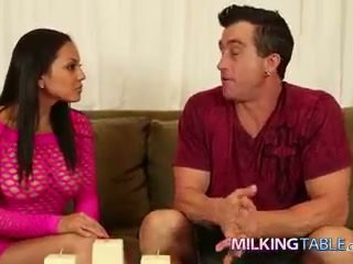 Adrianna luna strokes a big sik under the table