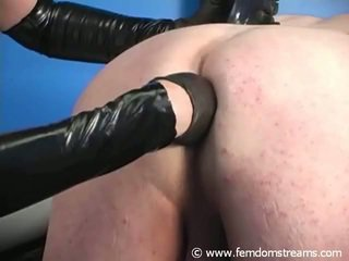 Strapon Domina Fingering And Abusing And Crossdresser's Sissy Clam Brown Eye