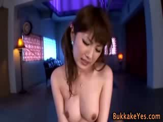 Bukkake fetish oriental fucked and semen facialized