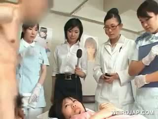 Asian Brunette Girl Blows Hairy Shaft At The Hospital