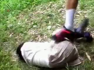 Fragile asyano istudyante getting brutally fucked panlabas