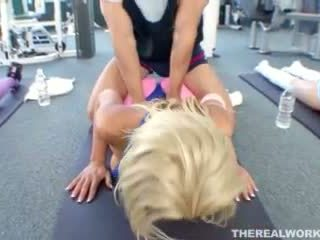 busty blonde fucked hard after her workout