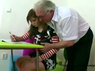 Old gray-haired teacher fucks his young student when she's doing her homework