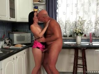 Teen fucks grandpa in the kitchen