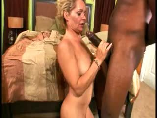 Skanky blonde grandma gets pounded hard by black stud