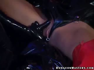 Sensuous Lesbian Slave Hilbel Gets Latex Gloves Licked And