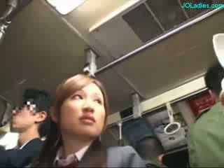 Office Lady Getting Her Hairy Pussy Fingered While Standing On The Bus
