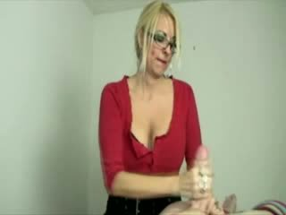 Blonde milf tugging cock during massage for this lucky guy