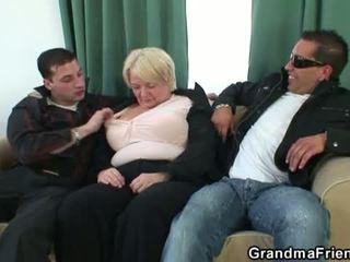 groot tieten, zien grote borsten, 3some klem