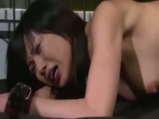 Horny fucker attacks thin oriental porn prostitute puss on bed