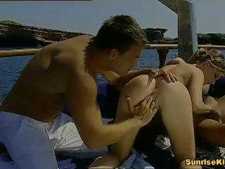Sunrise Kings: Busty blonde Tara White fucks two guys on the boat
