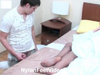 Christie And Adam Wicked Pantyhose Footsex