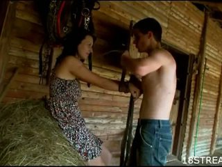 Perverted teen couple hardcore sex fun in the barn