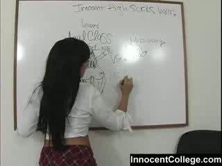 Sexy lezbo escola meninas ensinar cada outro um lesson