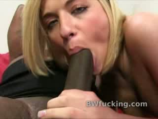 Filthy white Blonde takes big ebony penis deep into her filthy mouth