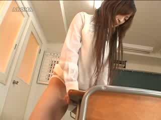 Japanies student masturbating with school table Video